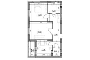ЖК Риел Сити: планировка 2-комнатной квартиры 75.8 м²