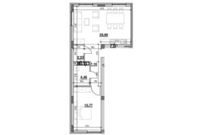 ЖК Риел Сити: планировка 1-комнатной квартиры 58.36 м²