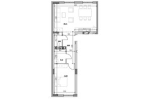 ЖК Риел Сити: планировка 1-комнатной квартиры 60.17 м²
