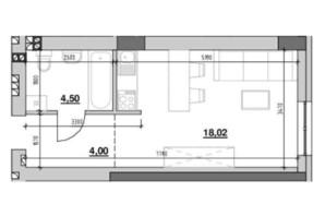 ЖК Риел Сити: планировка 1-комнатной квартиры 26.94 м²
