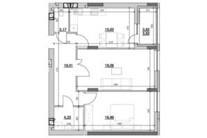 ЖК Риел Сити: планировка 2-комнатной квартиры 71.12 м²