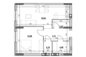 ЖК Риел Сити: планировка 1-комнатной квартиры 55.14 м²