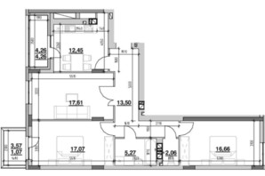 ЖК Риел Сити: планировка 3-комнатной квартиры 90.17 м²