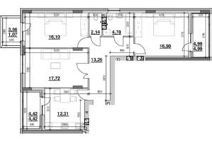 ЖК Риел Сити: планировка 3-комнатной квартиры 93.77 м²