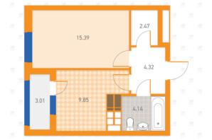 ЖК SOLAR CITY: планування 1-кімнатної квартири 39.18 м²