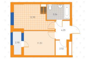 ЖК SOLAR CITY: планування 1-кімнатної квартири 39.5 м²
