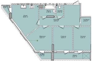 ЖК Сад на Круглій: планування 3-кімнатної квартири 85.45 м²