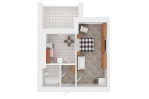 ЖК Сади Вишневі: планировка 1-комнатной квартиры 41 м²