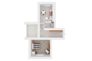 ЖК Сади Вишневі: планировка 1-комнатной квартиры 52 м²