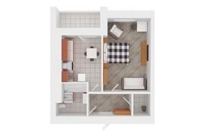 ЖК Сади Вишневі: планировка 1-комнатной квартиры 37 м²