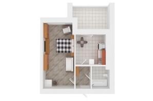 ЖК Сади Вишневі: планировка 1-комнатной квартиры 42 м²