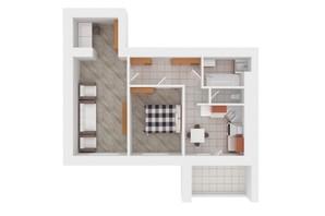 ЖК Сади Вишневі: планировка 2-комнатной квартиры 57 м²
