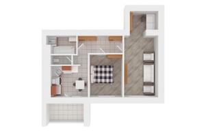 ЖК Сади Вишневі: планировка 2-комнатной квартиры 59 м²