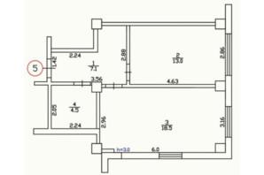 ЖК Садиба: планування 1-кімнатної квартири 43.3 м²