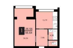 ЖК Сагайдачный: планировка 1-комнатной квартиры 56.03 м²