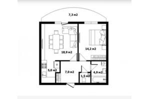 ЖК Сакура: планировка 1-комнатной квартиры 54.2 м²