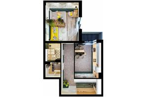 ЖК Scandia: планировка 1-комнатной квартиры 57.45 м²