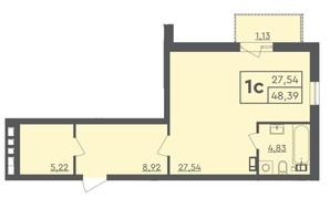 ЖК Scandia: планировка 1-комнатной квартиры 48.39 м²