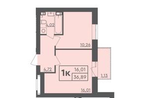ЖК Scandia: планировка 1-комнатной квартиры 33 м²