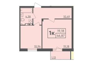 ЖК Scandia: планировка 1-комнатной квартиры 46.87 м²