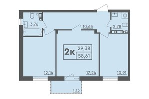 ЖК Scandia: планировка 2-комнатной квартиры 66 м²