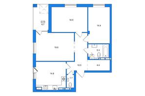 ЖК Scandia: планировка 3-комнатной квартиры 90 м²