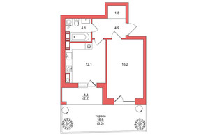 ЖК Scandia: планировка 1-комнатной квартиры 46.3 м²
