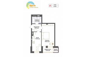 ЖК Счастье: планировка 1-комнатной квартиры 44.95 м²