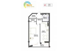 ЖК Счастье: планировка 1-комнатной квартиры 47.51 м²