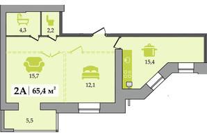 ЖК Счастливый: планировка 2-комнатной квартиры 65.4 м²