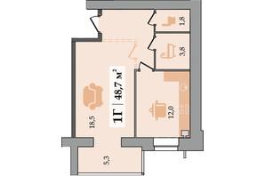 ЖК Счастливый: планировка 1-комнатной квартиры 48.7 м²