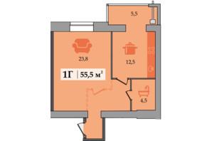ЖК Счастливый: планировка 1-комнатной квартиры 55.5 м²