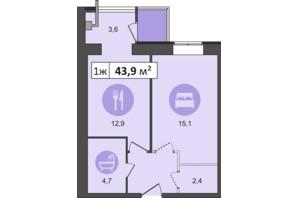 ЖК Счастливый: планировка 1-комнатной квартиры 43.9 м²