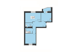 ЖК Счастливый: планировка 2-комнатной квартиры 67.9 м²