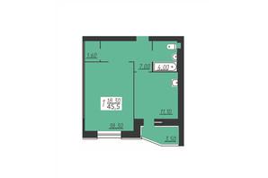 ЖК Счастливый: планировка 1-комнатной квартиры 45.5 м²