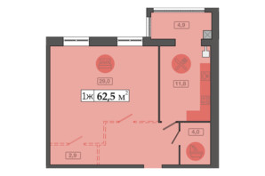 ЖК Счастливый на Днепре: планировка 1-комнатной квартиры 62.5 м²