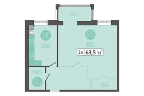 ЖК Счастливый на Днепре: планировка 1-комнатной квартиры 63.5 м²