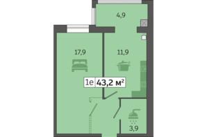 ЖК Счастливый на Днепре: планировка 1-комнатной квартиры 43.2 м²
