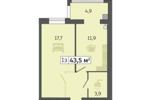 ЖК Счастливый на Днепре: планировка 1-комнатной квартиры 43.5 м²