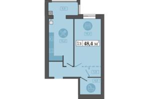 ЖК Счастливый на Днепре: планировка 1-комнатной квартиры 48.4 м²