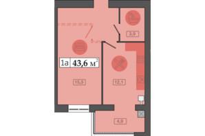 ЖК Счастливый на Днепре: планировка 1-комнатной квартиры 43.6 м²
