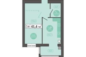 ЖК Счастливый на Днепре: планировка 1-комнатной квартиры 41.1 м²