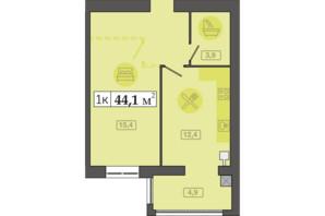 ЖК Счастливый на Днепре: планировка 1-комнатной квартиры 44.1 м²