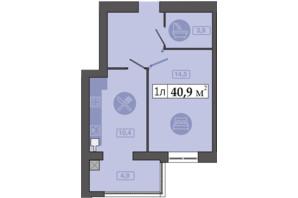 ЖК Счастливый на Днепре: планировка 1-комнатной квартиры 40.9 м²