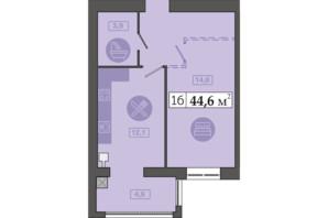 ЖК Счастливый на Днепре: планировка 1-комнатной квартиры 44.6 м²