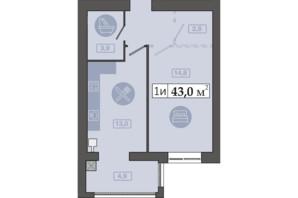 ЖК Счастливый на Днепре: планировка 1-комнатной квартиры 43 м²