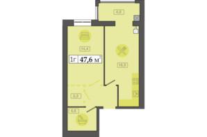 ЖК Счастливый на Днепре: планировка 1-комнатной квартиры 47.6 м²