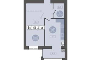 ЖК Счастливый на Днепре: планировка 1-комнатной квартиры 41.4 м²