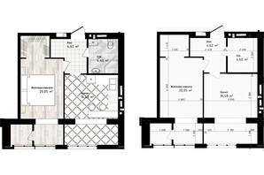 ЖК Sea Town: планування 1-кімнатної квартири 45.75 м²