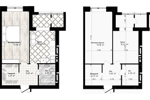 ЖК Sea Town: планування 1-кімнатної квартири 46.28 м²
